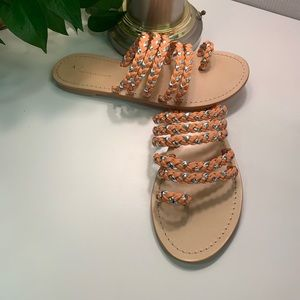 ANTHRO Tulum leather sandals in cantaloupe/silver